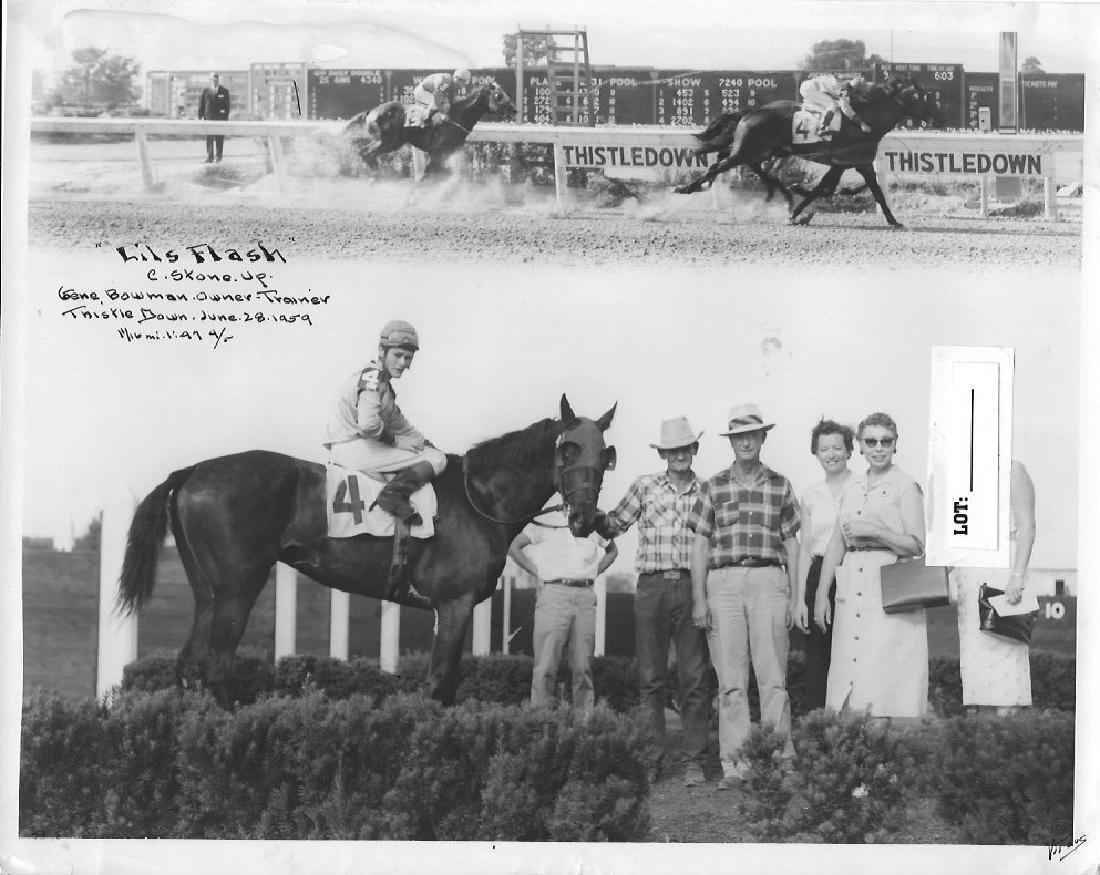 B&W Winner Horse Racing Track 1950's And 60's.