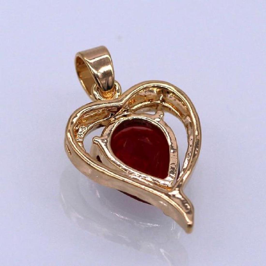 Heart Red Crystal 18K Yellow GP CZ Pendant - 2