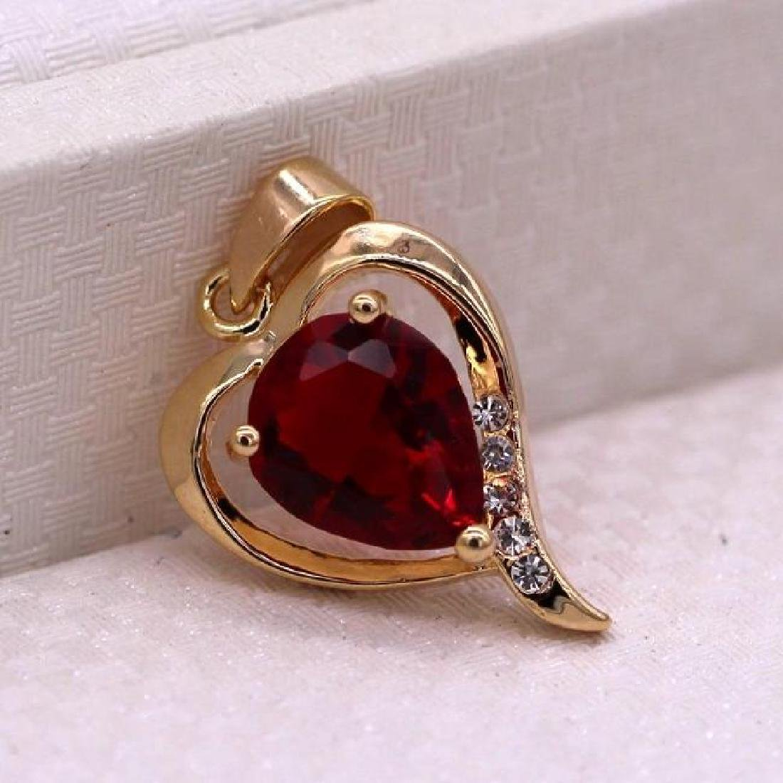 Heart Red Crystal 18K Yellow GP CZ Pendant - 3