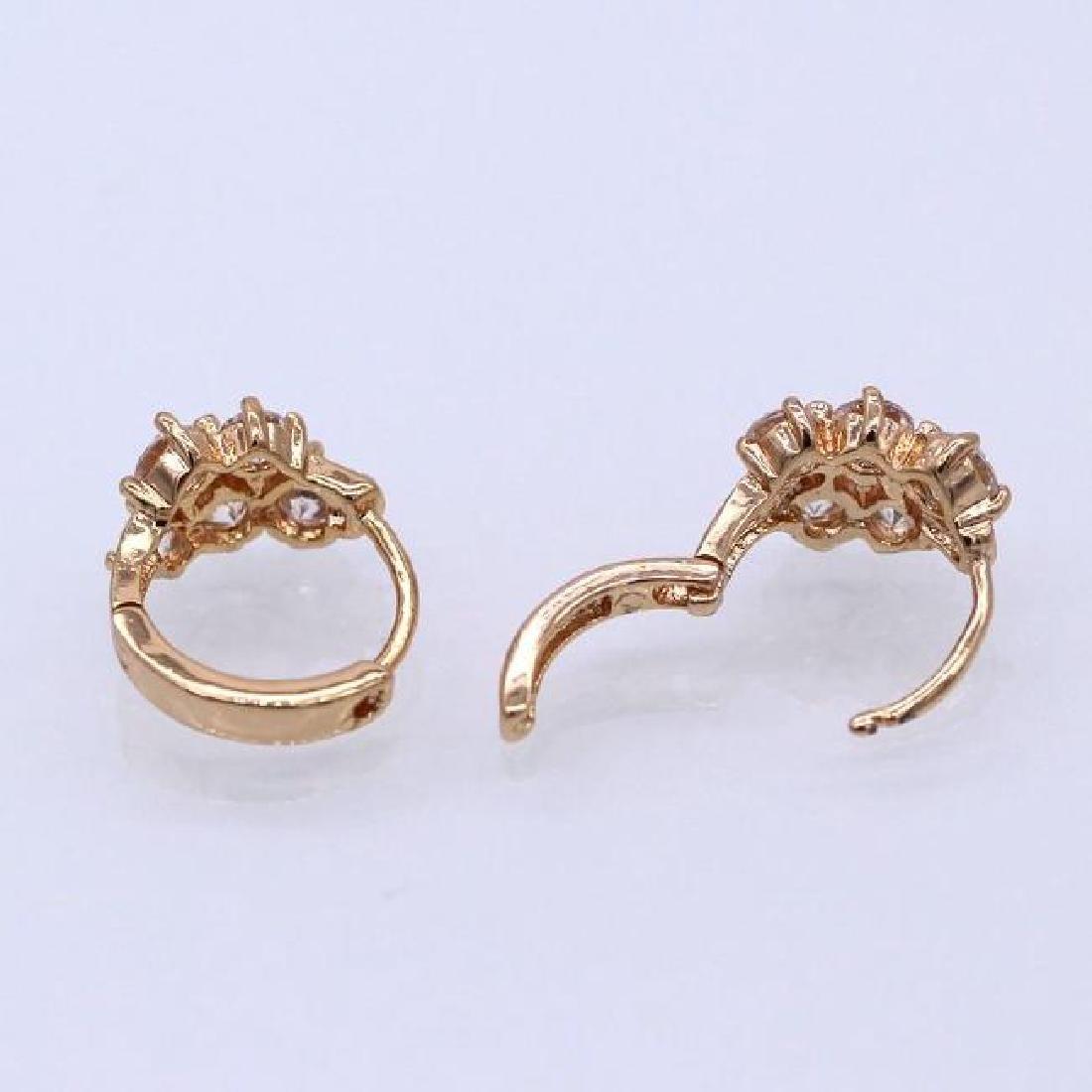 Women Jewelry White Cubic Zirconia 18K Yellow GP Hoop E - 3