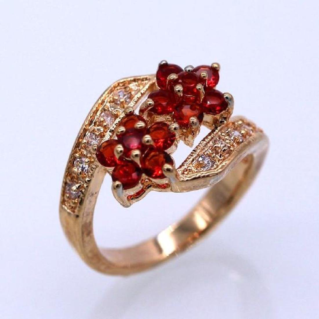 Double Flowers Red Crystal Champagne GP CZ Ring