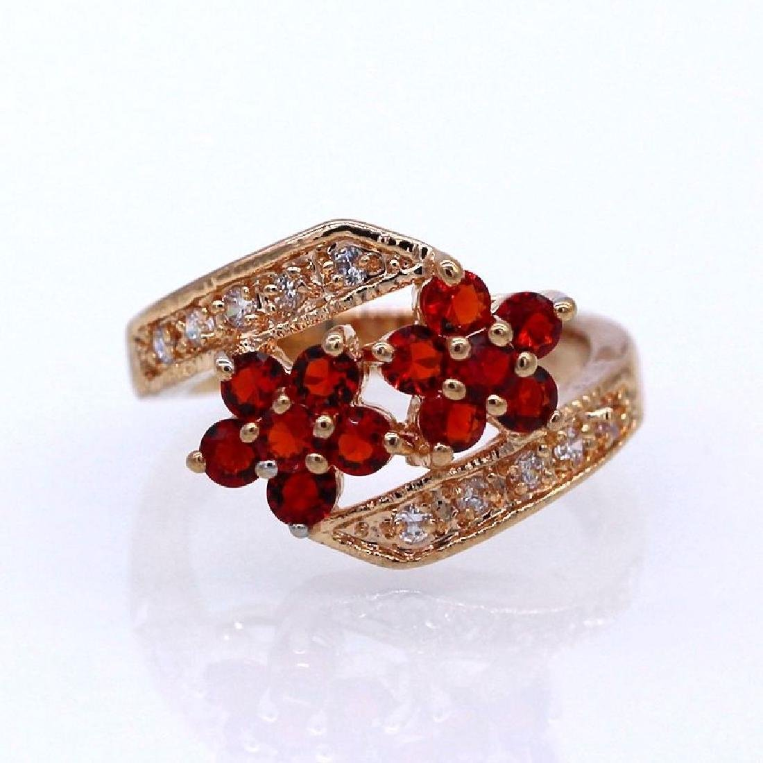 Double Flowers Red Crystal Champagne GP CZ Ring - 2