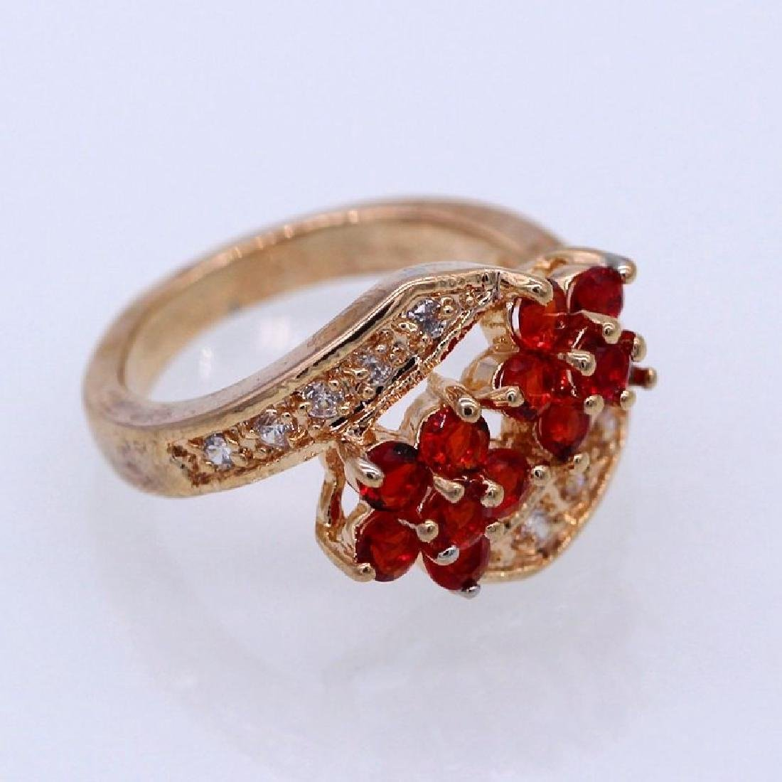 Double Flowers Red Crystal Champagne GP CZ Ring - 3