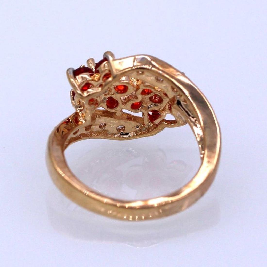 Double Flowers Red Crystal Champagne GP CZ Ring - 4