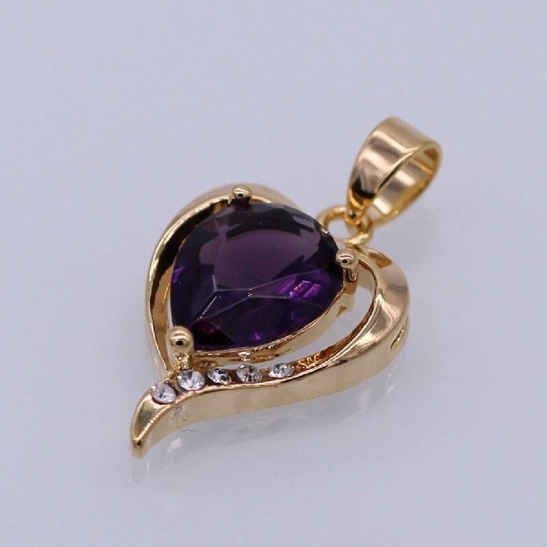 Charm Heart Purple Crystal 18K Yellow GPl CZ Pendant Wo