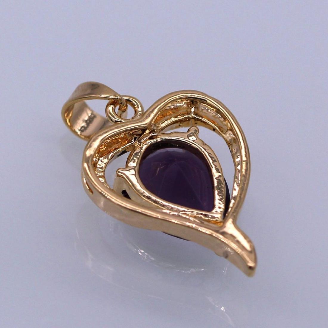 Charm Heart Purple Crystal 18K Yellow GPl CZ Pendant Wo - 2