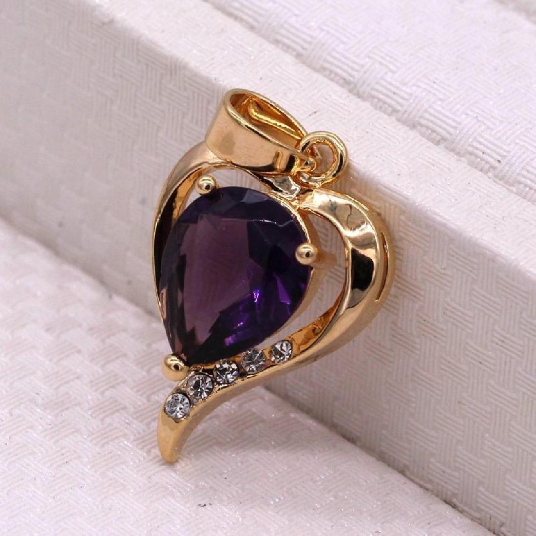 Charm Heart Purple Crystal 18K Yellow GPl CZ Pendant Wo - 3