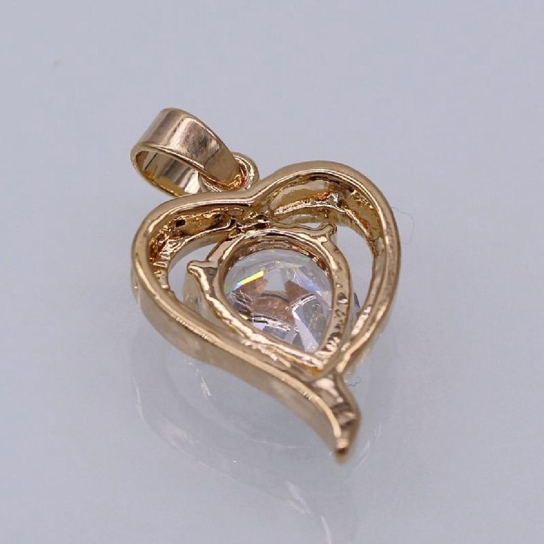 Charm Heart White Crystal 18K Yellow GP CZ Pendant - 4