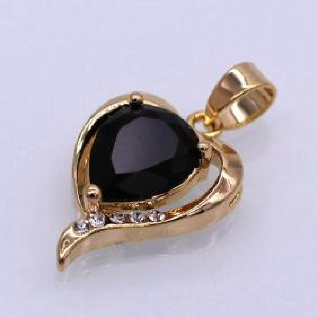 Charm Heart Black Crystal 18K Yellow GP CZ Pendant for