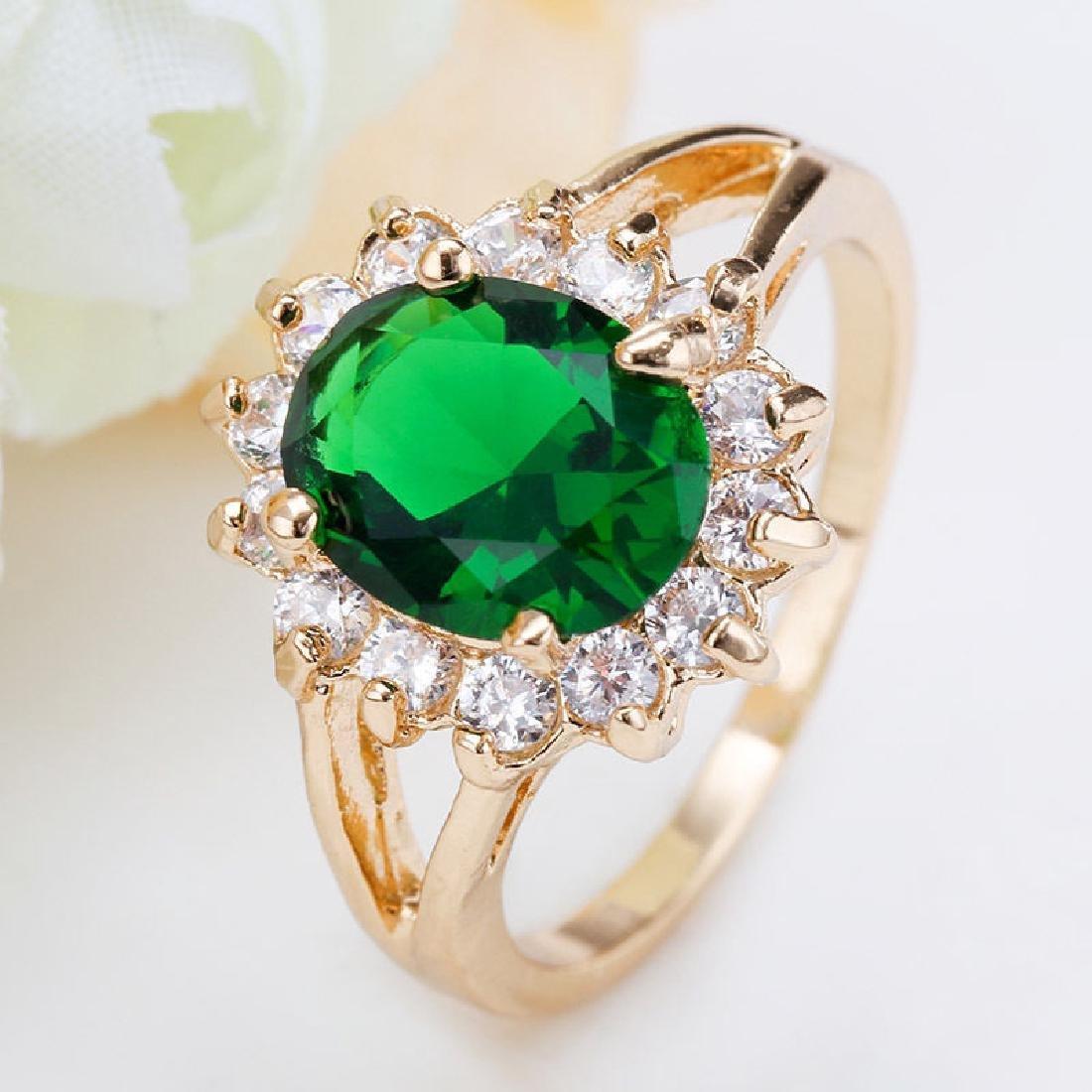 Women 925 Silver Yellow GF Cz Emerald Ring