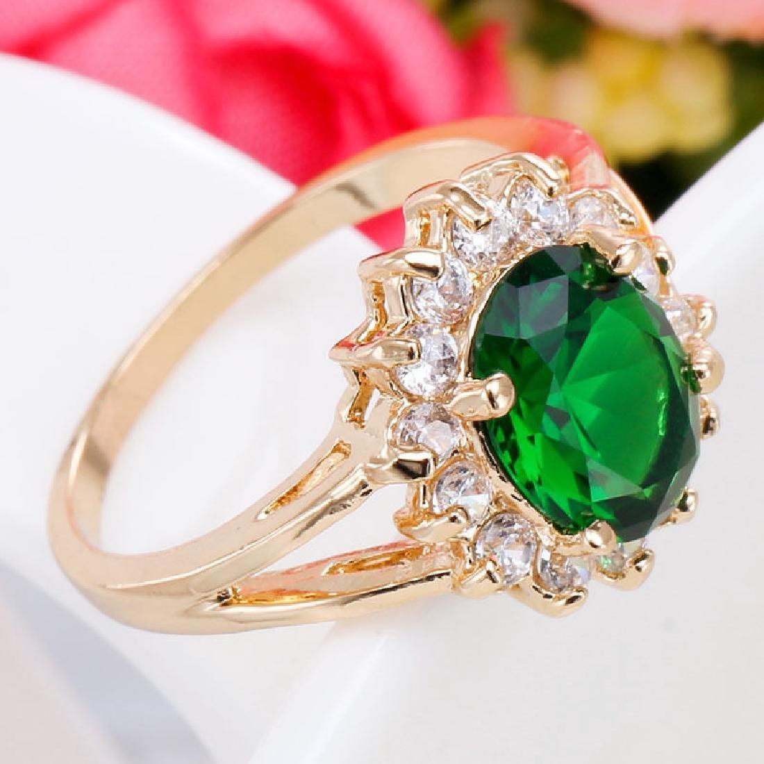 Women 925 Silver Yellow GF Cz Emerald Ring - 2