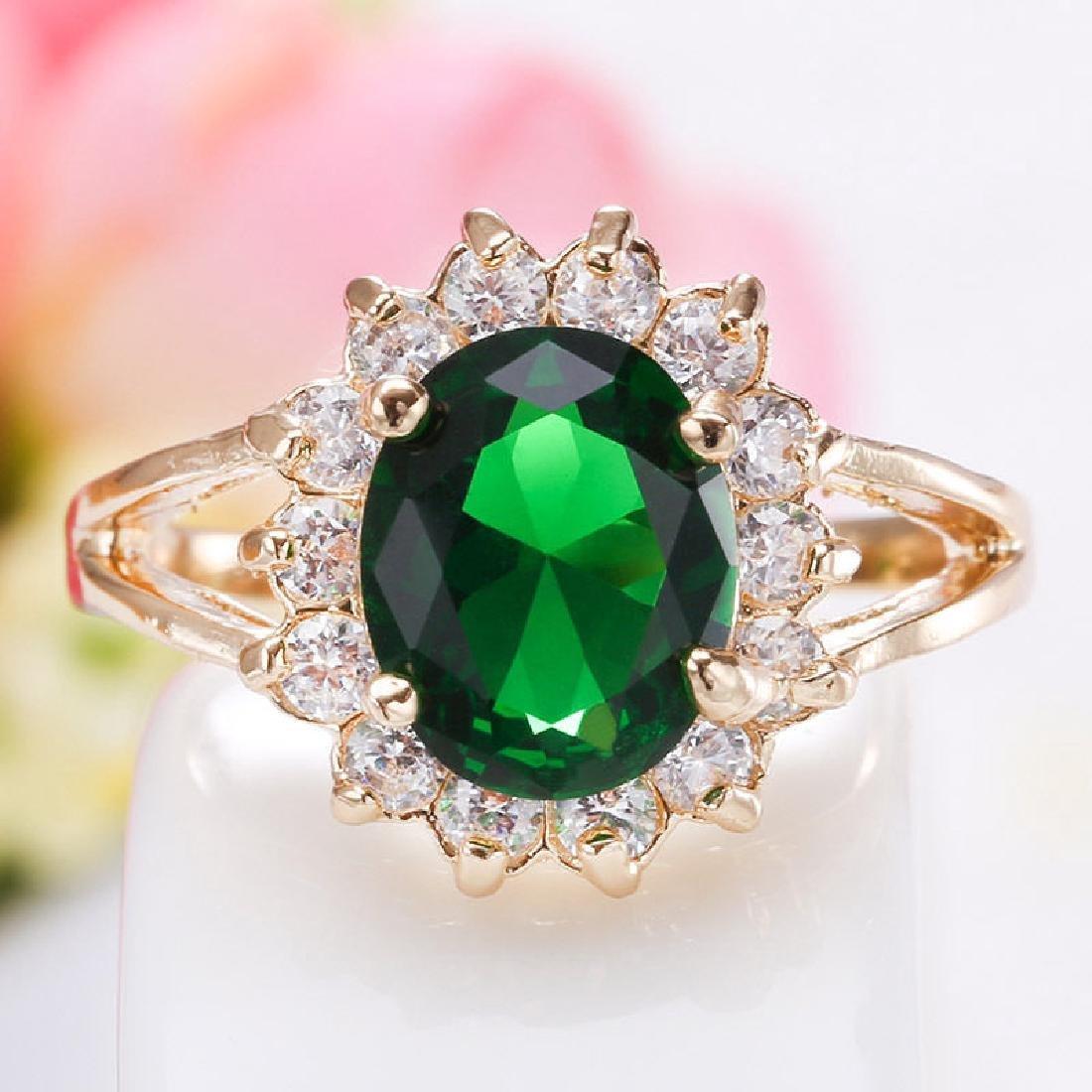 Women 925 Silver Yellow GF Cz Emerald Ring - 3