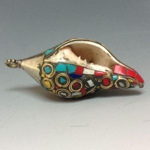 Copper bronze turquoise conch horns pendant - 3