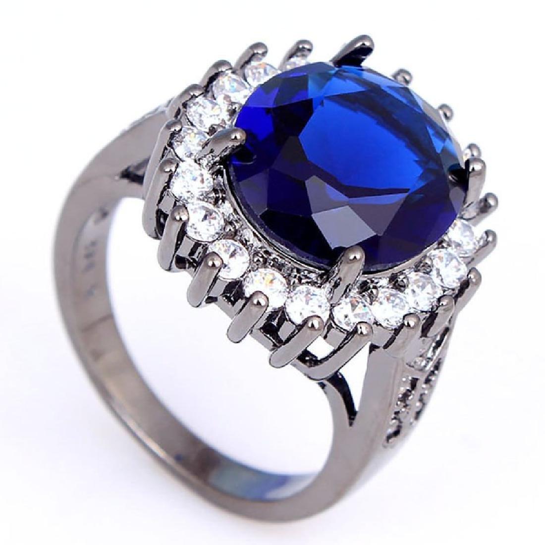 925 Silver Black P Sapphire CZ Ring Size 7