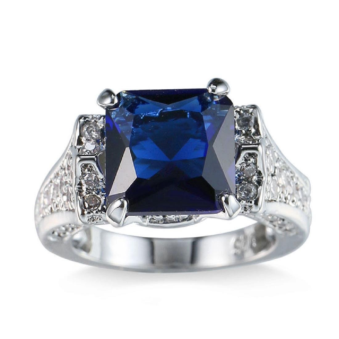 925 Solid Silver Blue Sapphire CZ Ring Wedding Size 9