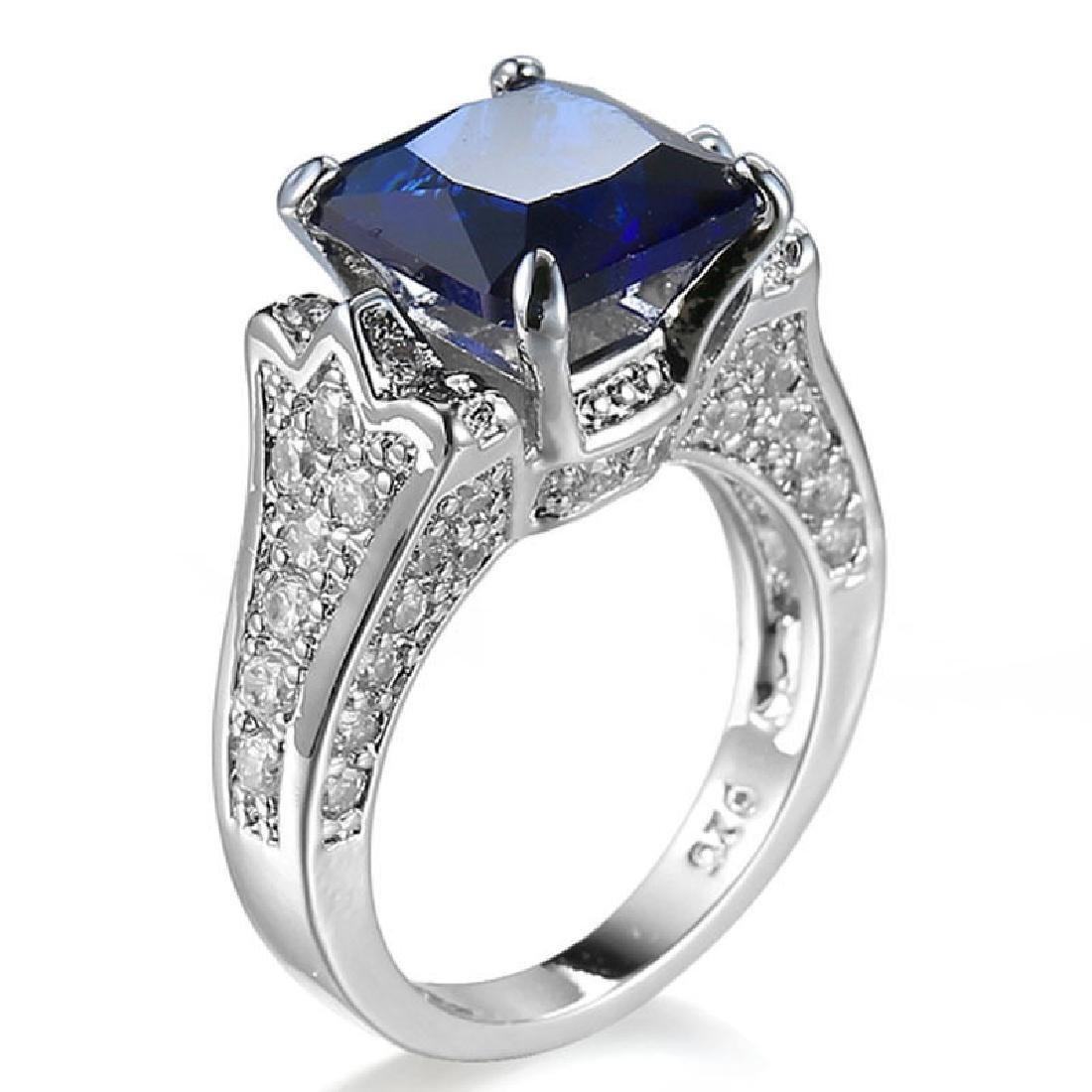 925 Solid Silver Blue Sapphire CZ Ring Wedding Size 9 - 2