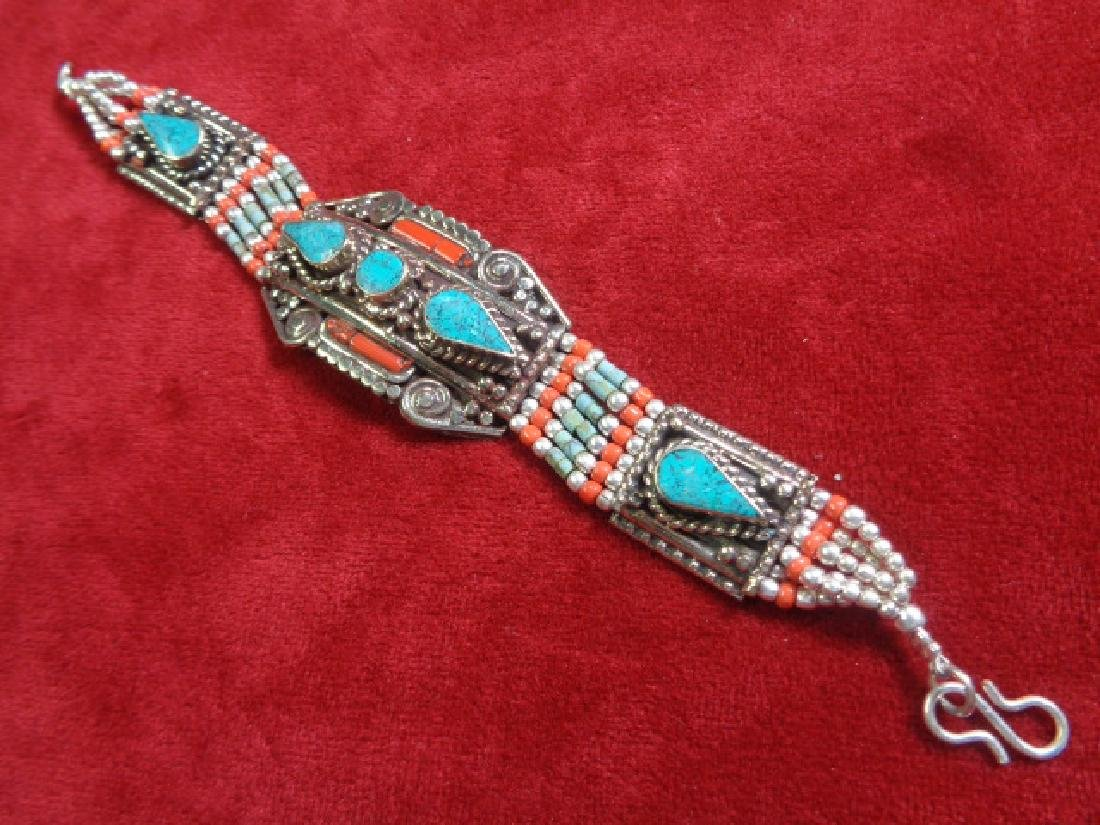 Turquoise-Coral- 925 Silver Bracelet