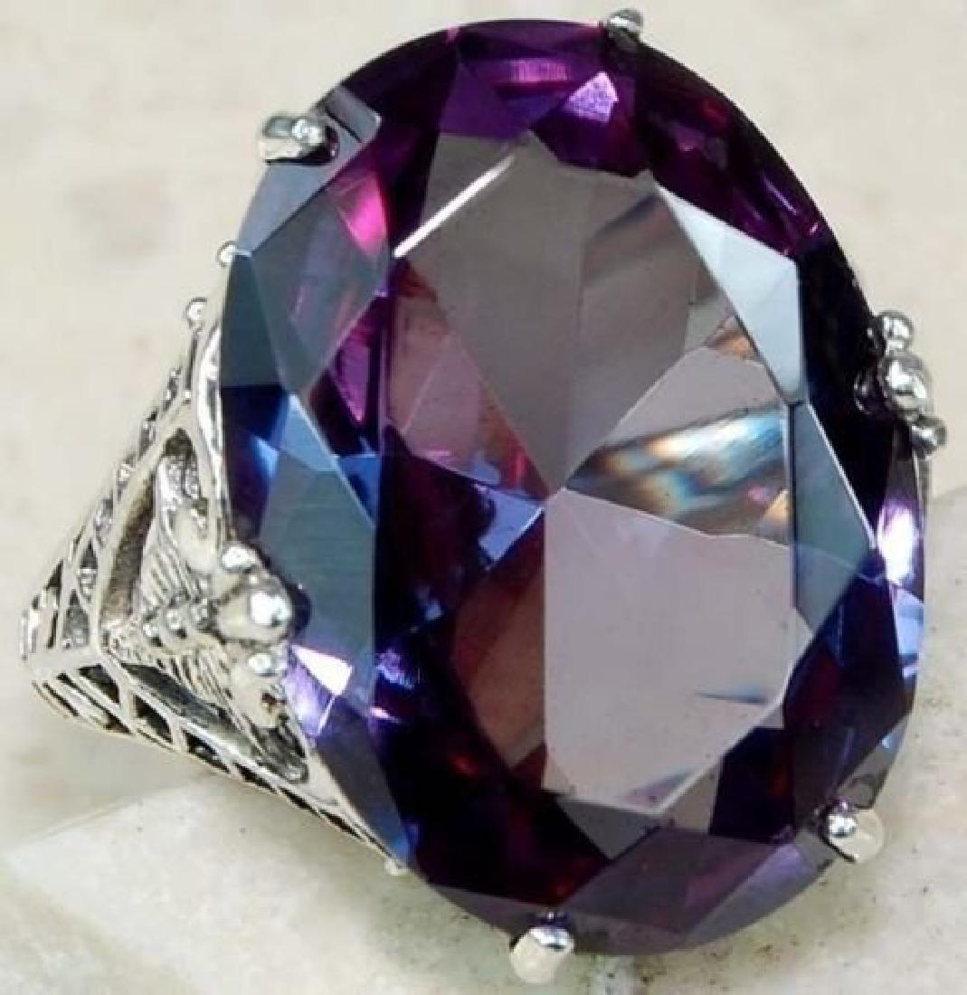 Cut Amethyst cz 925 silver wedding rings size 7