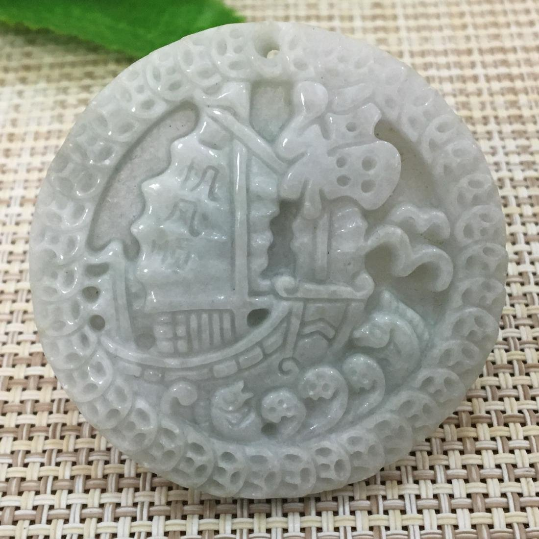Certified A jadeite jade Hand-carved Sailboat Pendant