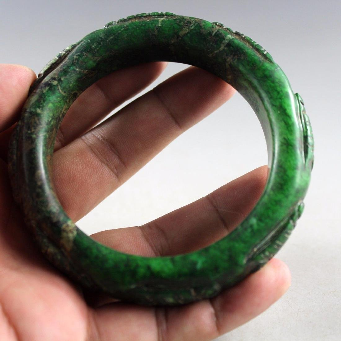 Ancient Hand Carved Green Jade Bangle - 2