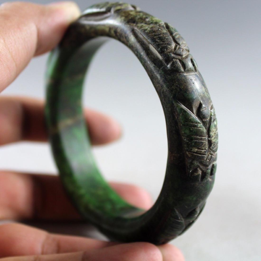 Ancient Hand Carved Green Jade Bangle - 4