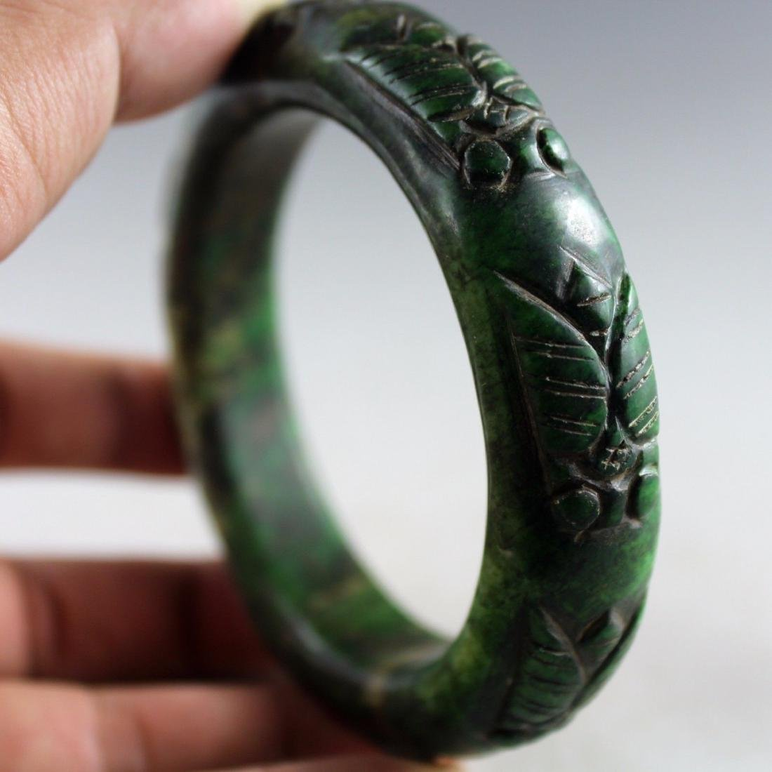 Ancient Hand Carved Green Jade Bangle - 6