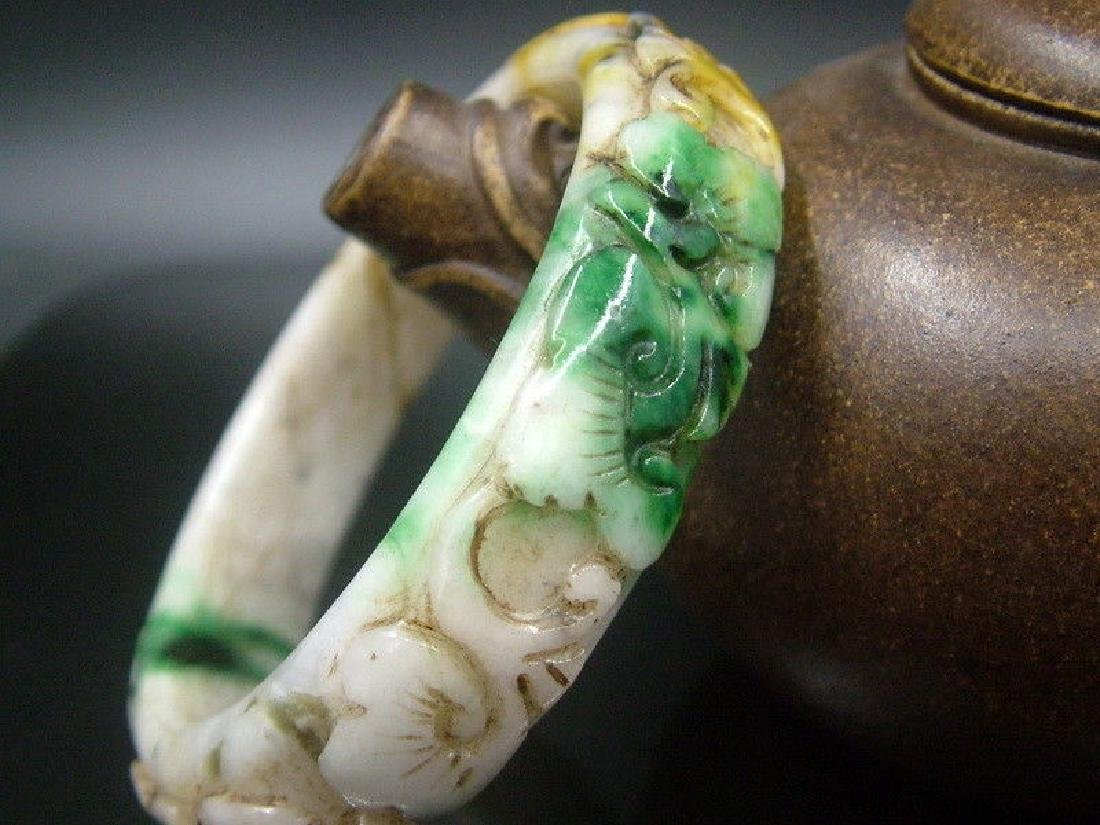 Ancient Hand Carved Nephrite Celadon Jade Bang - 7
