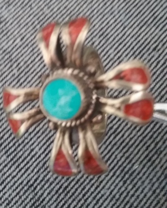 Unique TURQUOISE WITH RED CORAL.925 SILVER RING SIZE- 8