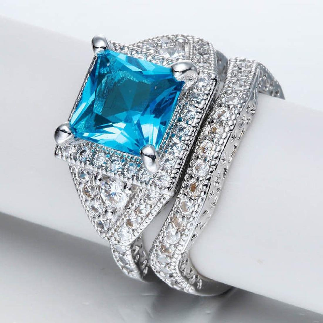 925 Silver Aquamarine CZ Ring Set Wedding Size:9