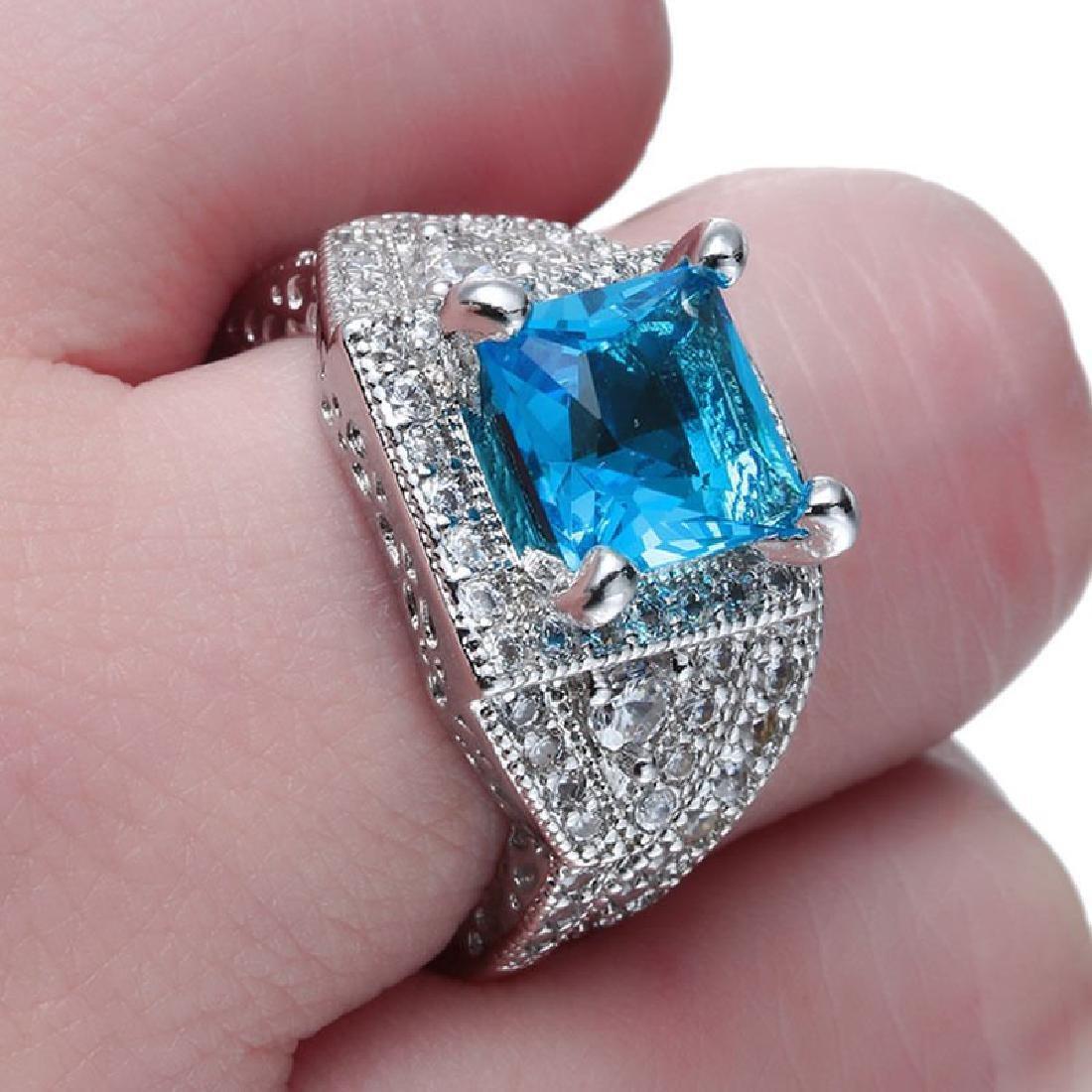 925 Silver Aquamarine CZ Ring Set Wedding Size:9 - 2