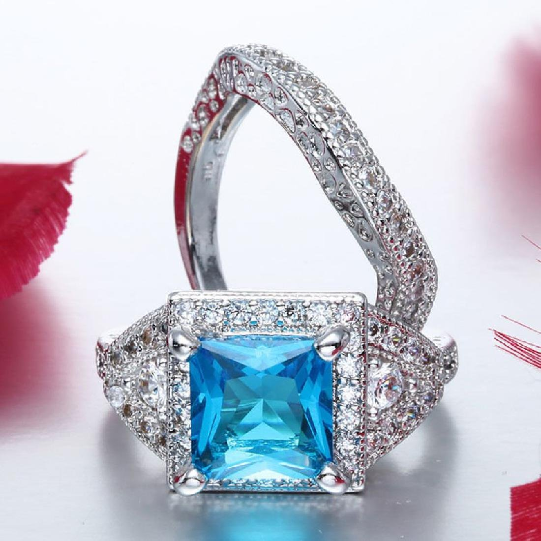 925 Silver Aquamarine CZ Ring Set Wedding Size:9 - 3
