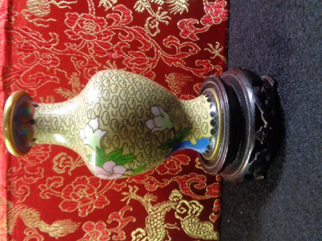 Cloisonne Vase Multicolored Flowers