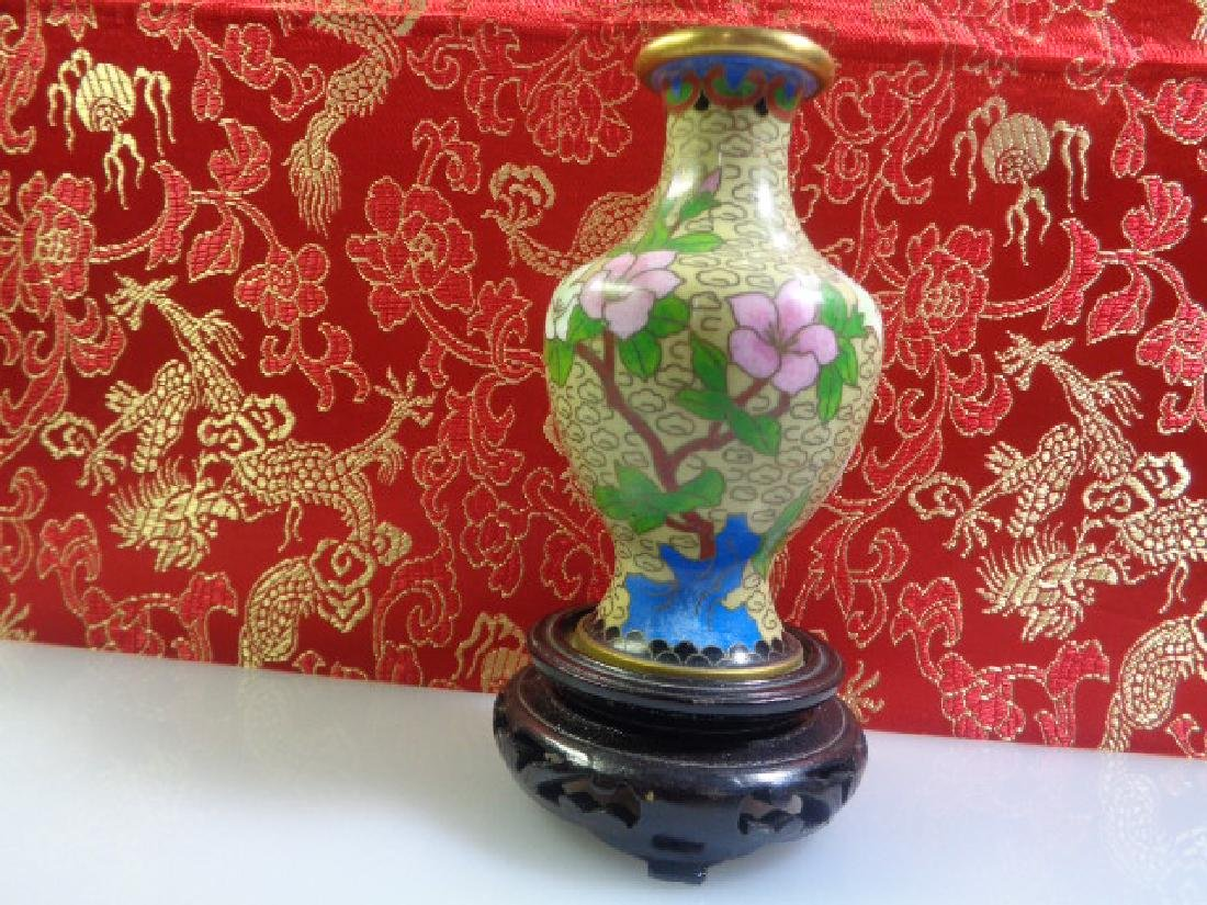 Cloisonne Vase Multicolored Flowers - 3