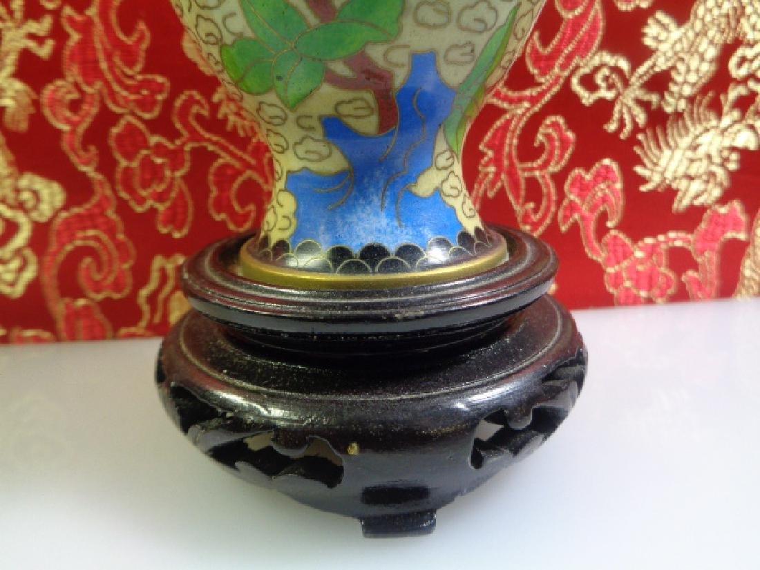 Cloisonne Vase Multicolored Flowers - 4