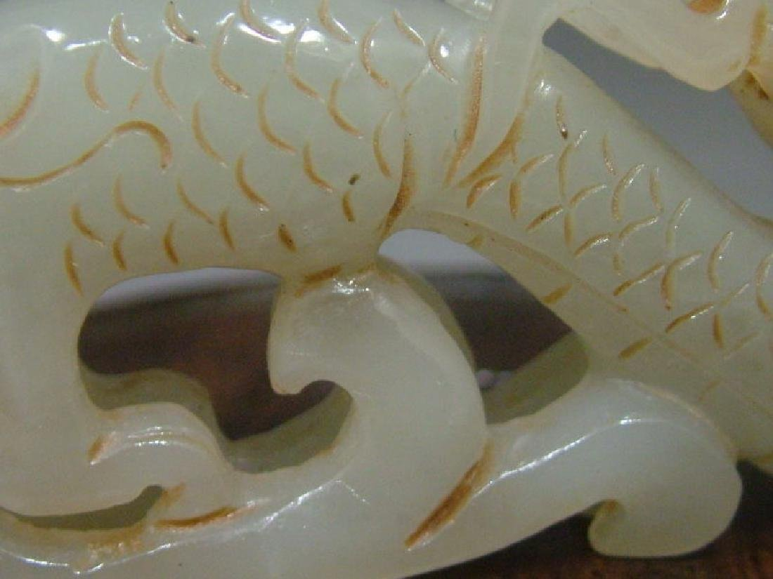 Antique Celadon Nephrite Jade Hand Carved  Chinese Drag - 6