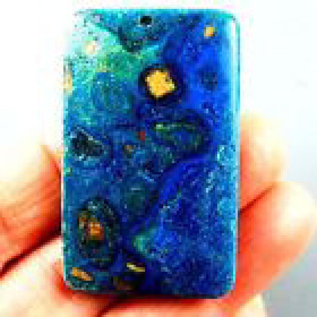 Oblong Colorful Malachite Pendant