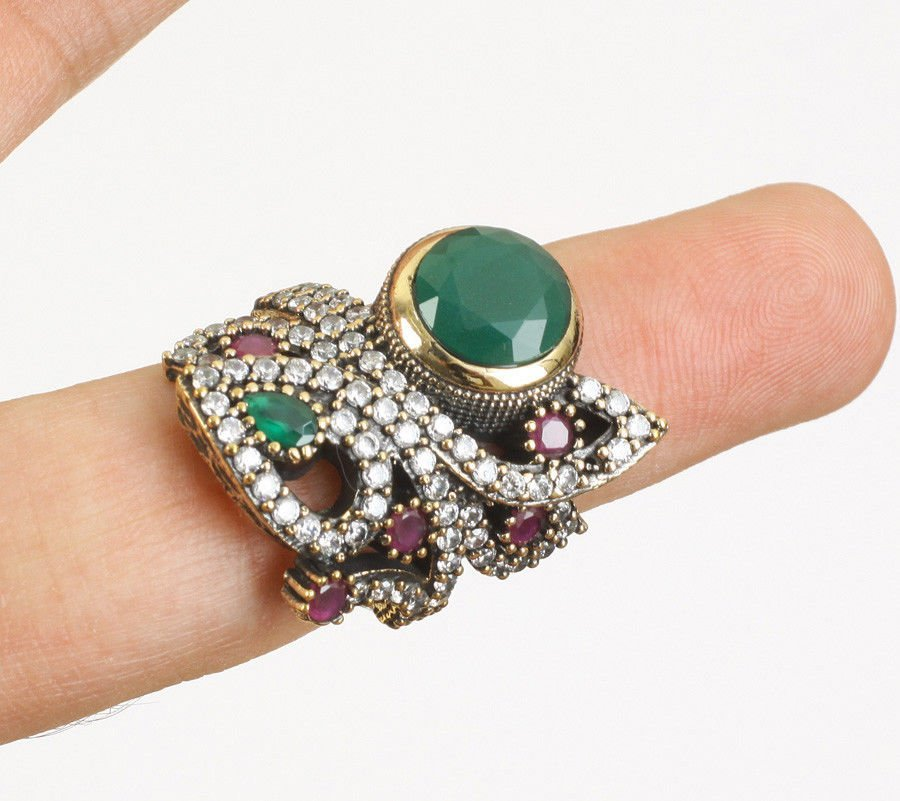 EMERALD RUBY TOPAZ .925 SILVER & BRONZE RING SIZE 7.5