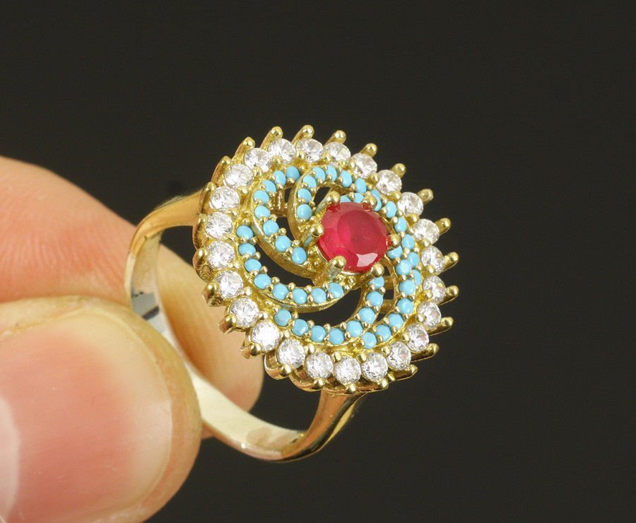 RUBY TOPAZ TURQUOISE .925 SILVER & BRONZE RING SIZE 8
