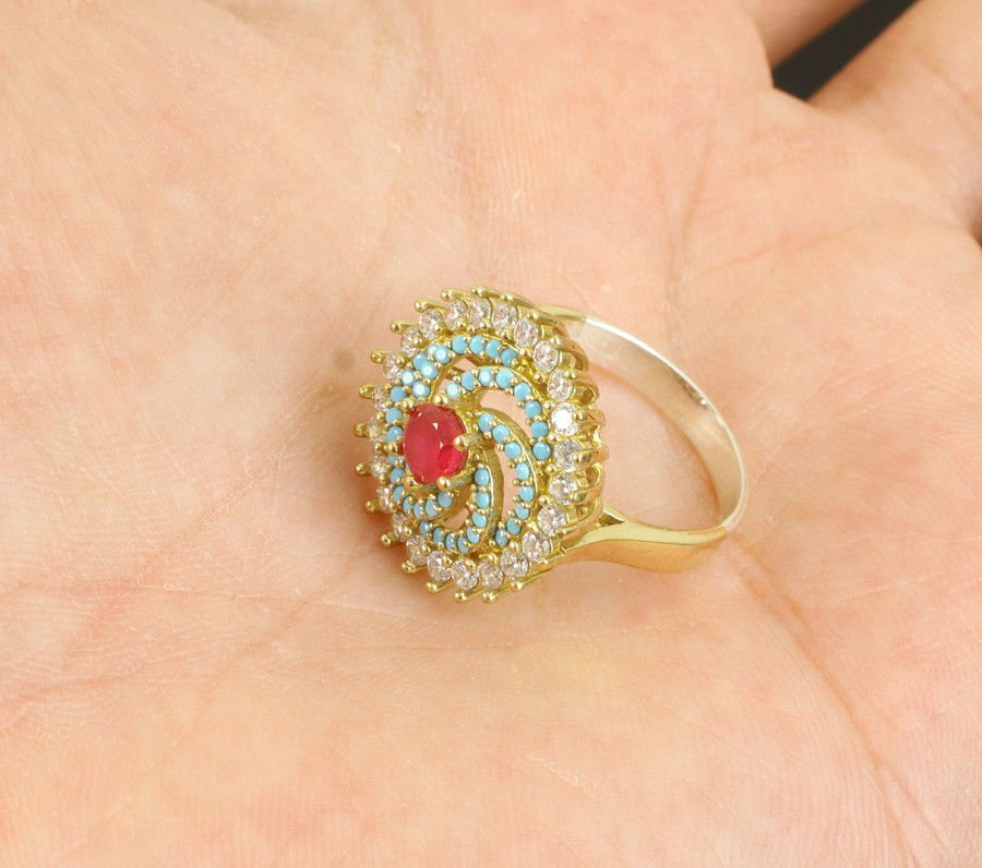 RUBY TOPAZ TURQUOISE .925 SILVER & BRONZE RING SIZE 8 - 2