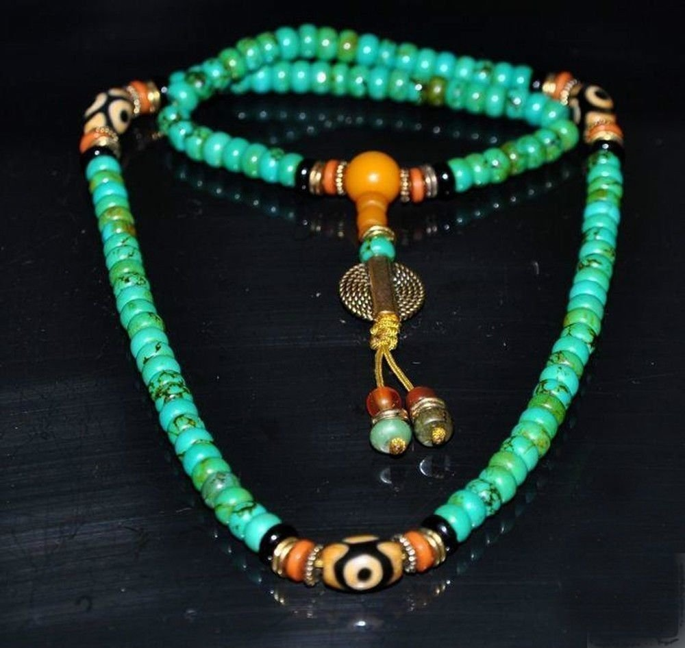 Turquoise buddhist buddha worry prayer bead mala