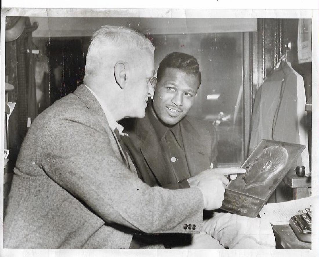 1955 Photo Boston Columnist Austin Lake & Sugar R