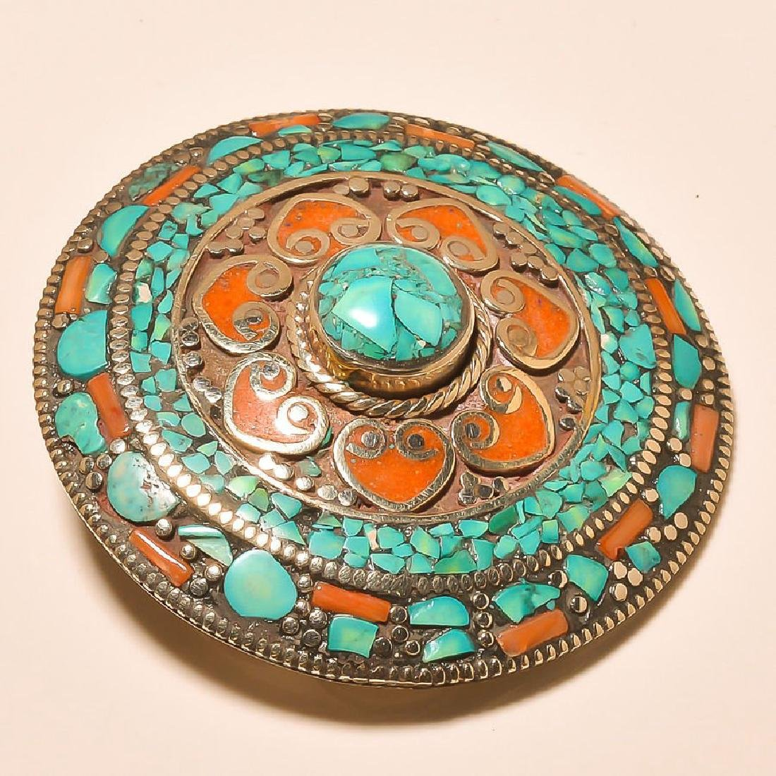 Red Coral & Turquoise -925 Silver Belt buckle