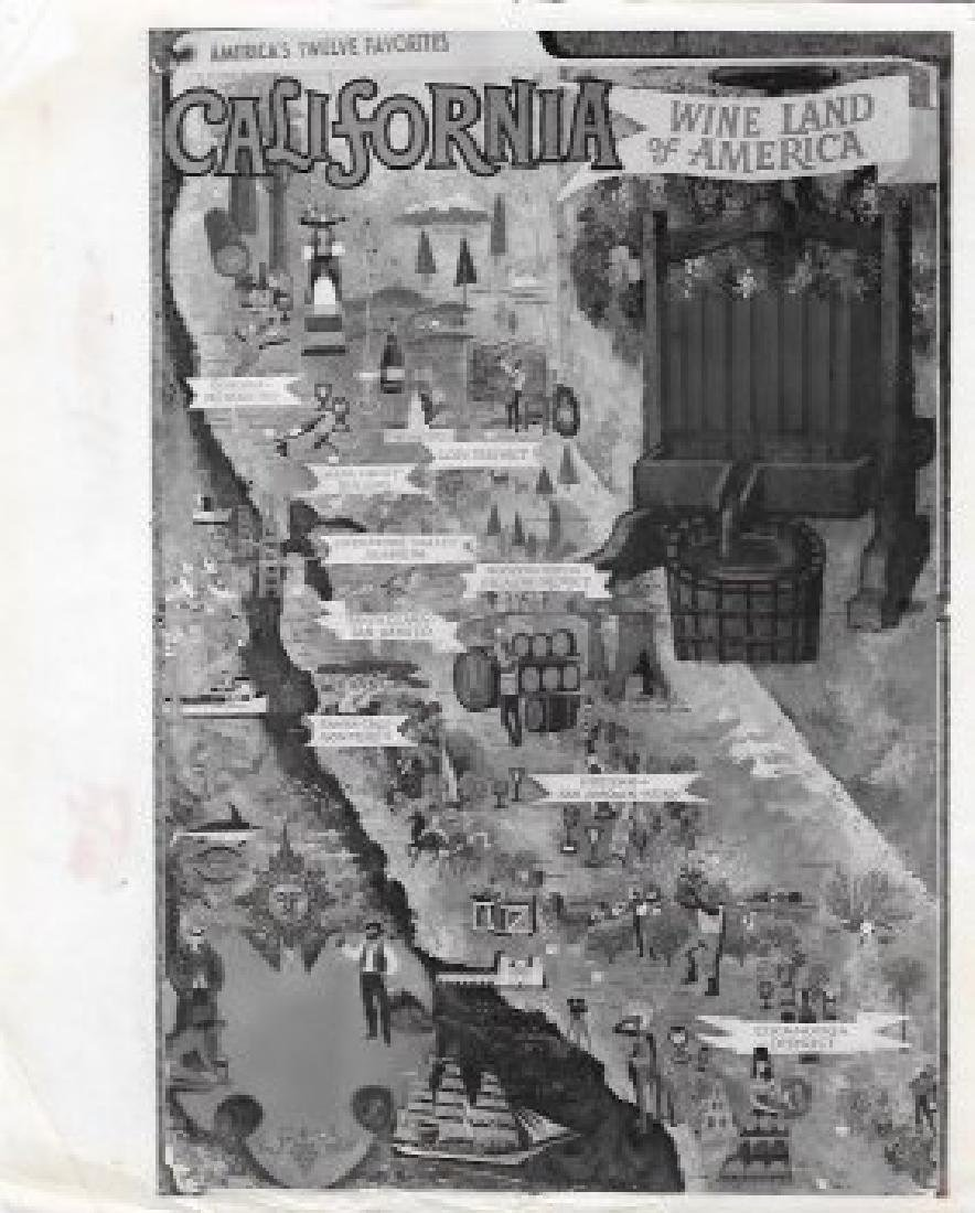 1967 MAP CALIFORNIA WINE LAND OF AMERICA