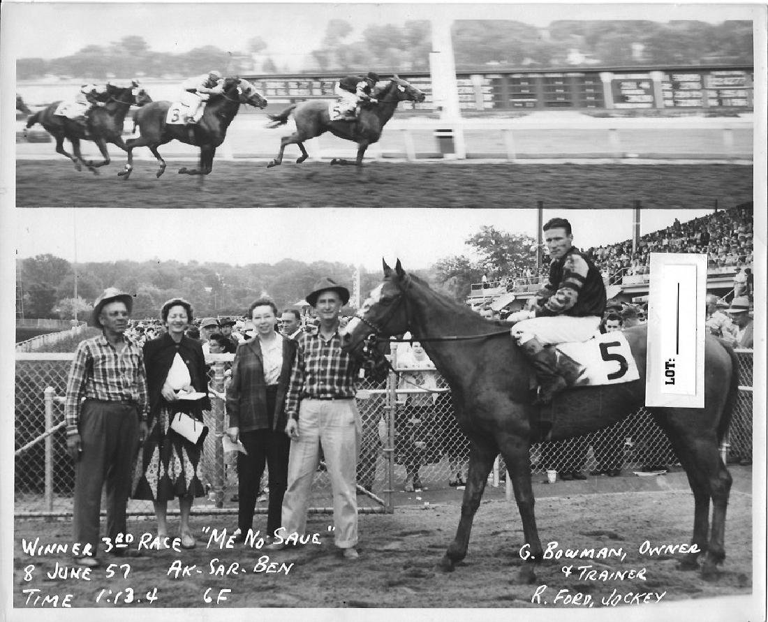 B&W Winner Horse Racing Track 1950's And 60's.