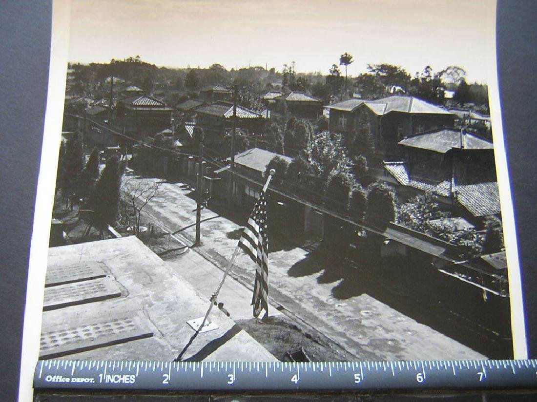 B&W VTG  WW2 Japan homes w US flag shot from  .Photo - 2
