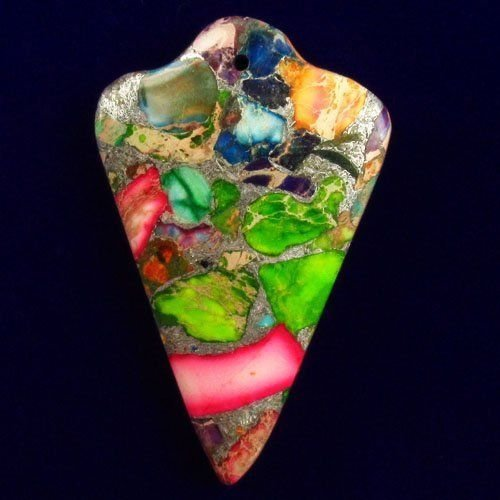 Sea Sediment Jasper Pyrite Arrow Pendant