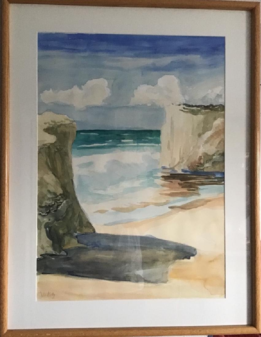 Watercolor sign Julia Kelly  Matted-Wood Frame
