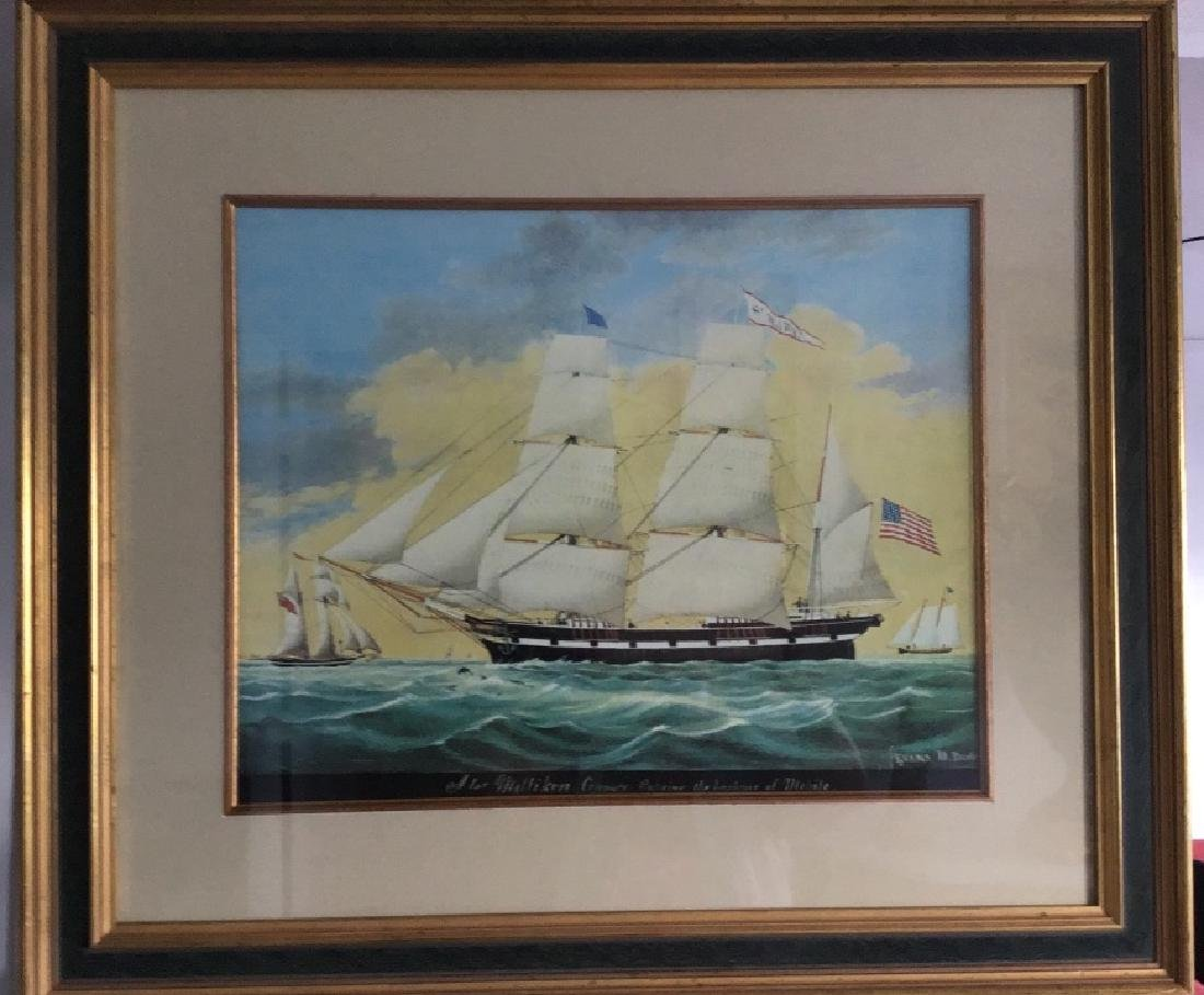 "Evans Lithograph Print "" The harbor Michile."""