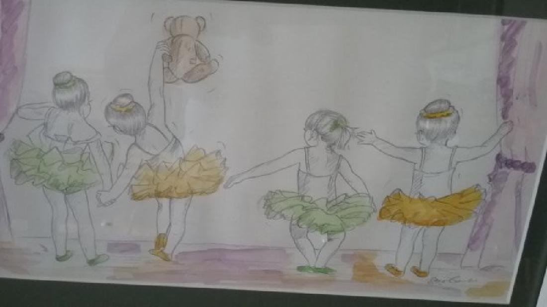 "Watercolor ""Ballerinas"" Frame/w Fiberglass"