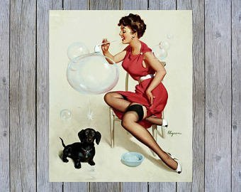 Elvgren 1953 Brunette Sexy Girl